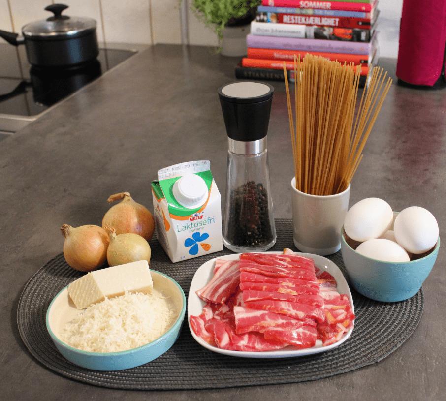 Pasta carbonara - ingredienser