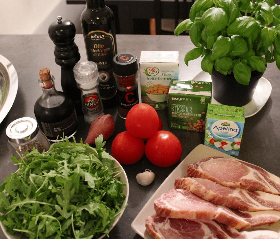 Bønnesalat og koteletter - ingredienser