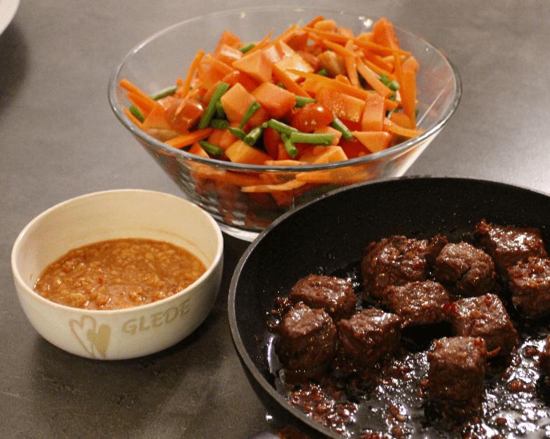 Thai biff med papayasalat